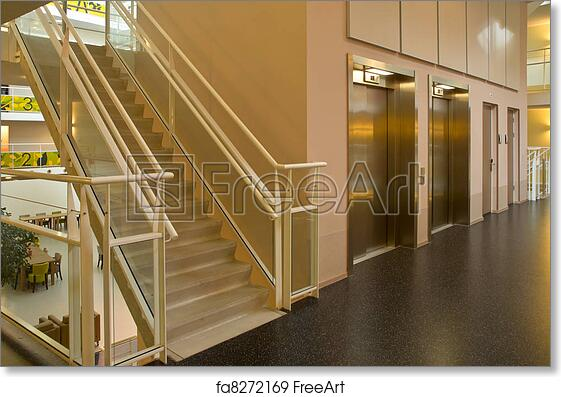 Free Art Print Of Elevator Staircase In A Modern Building