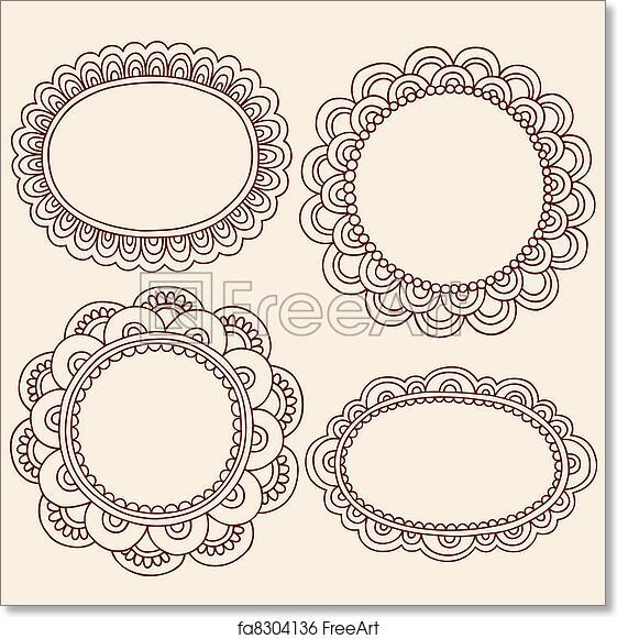 Free Art Print Of Henna Mehndi Picture Frames Vector Hand Drawn