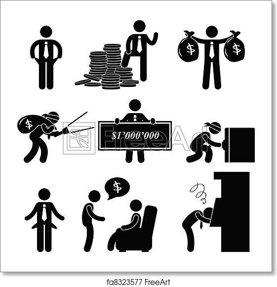 free art print of rich and poor man people pictogram a set of