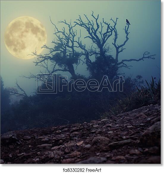 free art print of old spooky tree freeart fa8330282