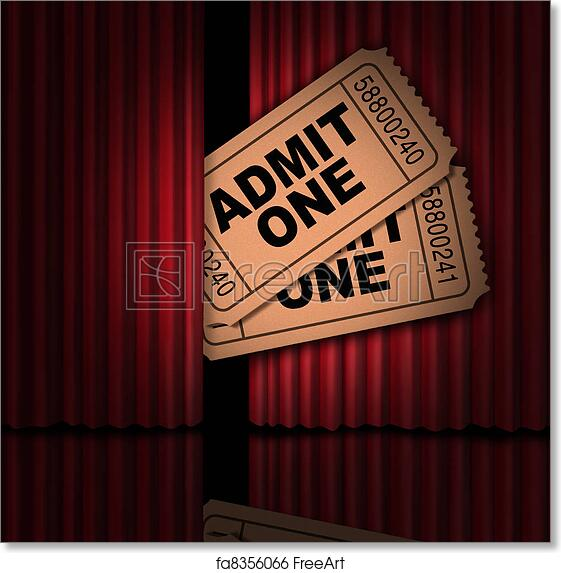 Free Art Print Of Movies And Entertainment Tickets Cinema Show Stubs Behind The Curtain As A Peek Into New Announcement On Rumors Cinematic Release Opening