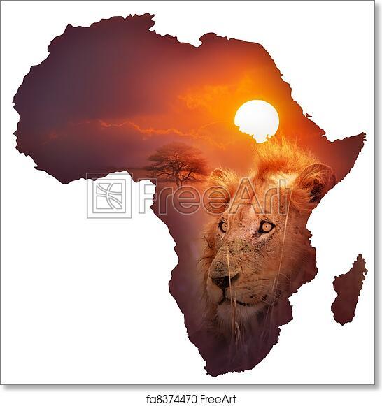 image regarding Free Printable Map of Africa titled Totally free artwork print of African Wildlife Map