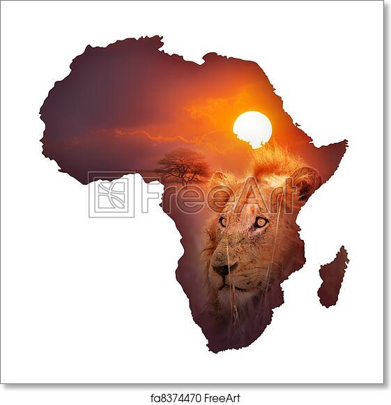 Map Of Africa Art.Free Art Print Of African Wildlife Map Africa Wildlife Map Design