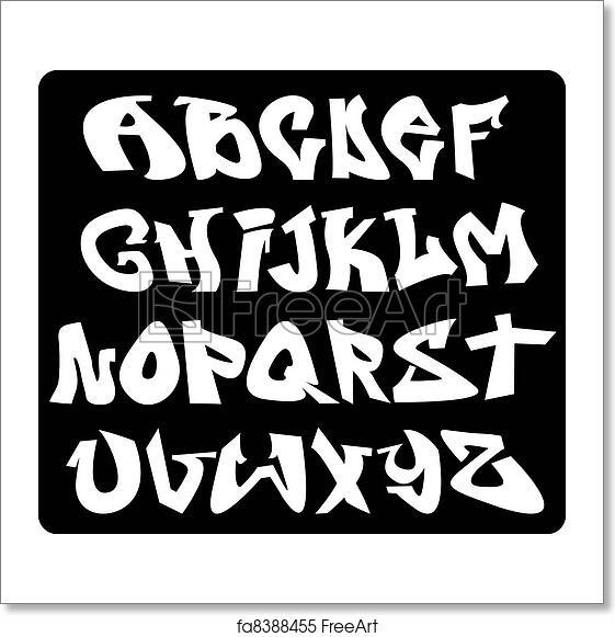 Free art print of Graffiti font alphabet, abc letters