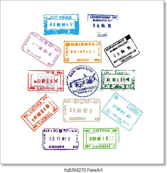 picture regarding Printable Passport Stamps for Kids titled Absolutely free artwork print of Pport Stamps