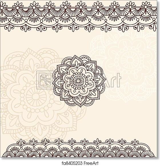 Free Art Print Of Henna Flower And Border Design Set Hand Drawn
