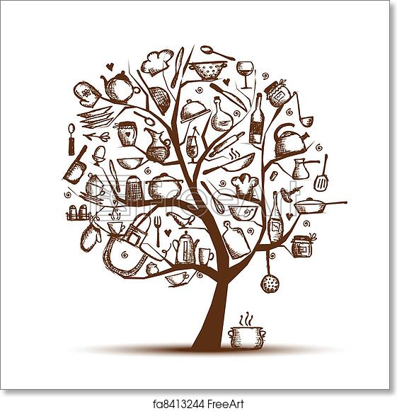 Free Art Print Of Art Tree With Kitchen Utensils, Sketch Drawing For Your  Design