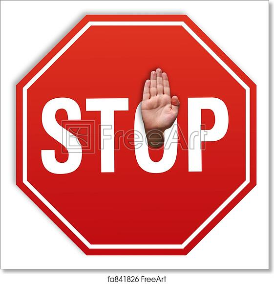 Free Art Print Of Stop Hand Stop Sign Againts Stop Hand Consept
