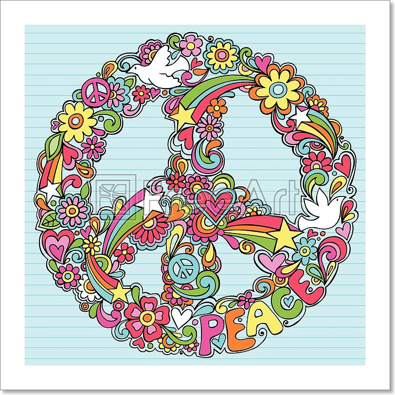 Details about Peace Sign Dove Psychedelic Doodles Art Print Home Decor Wall  Art Poster - C