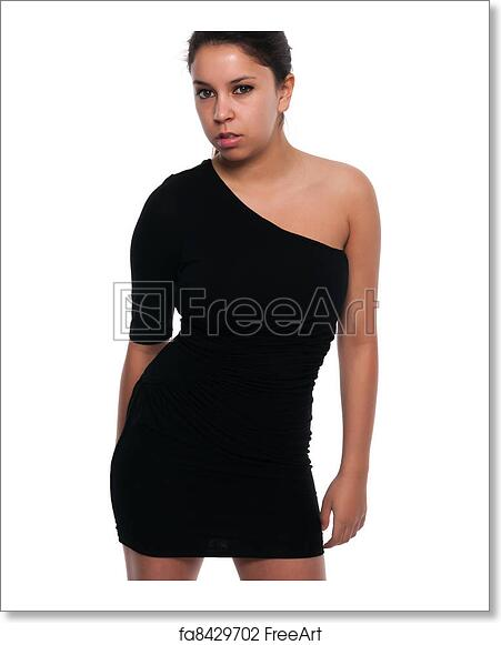 Free Art Print Of Little Black Dress Pretty Young Petite Latina In