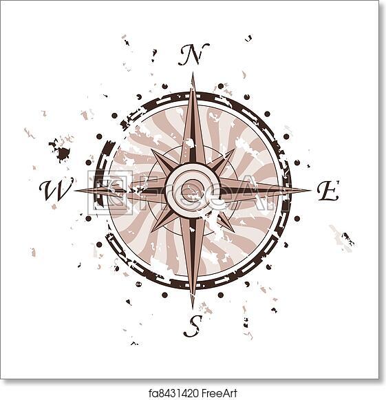 free art print of grunge vector compass freeart fa8431420