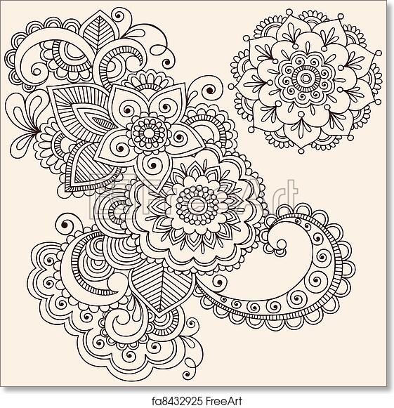 Free Art Print Of Henna Mehndi Tattoo Design Elements Hand Drawn