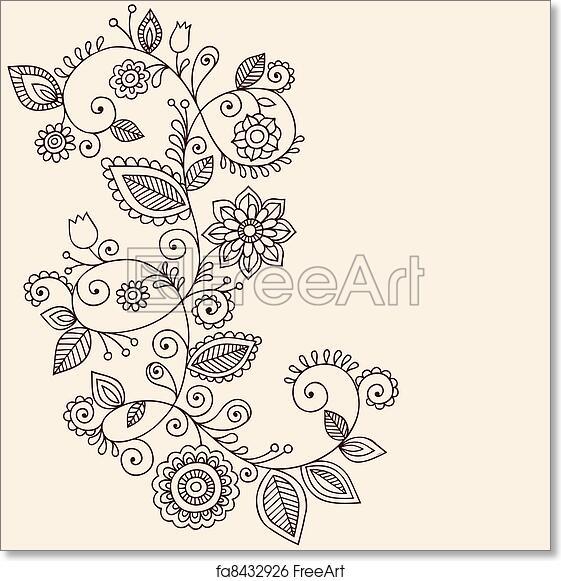 Free Art Print Of Vines Henna Tattoo Paisley Vector Hand Drawn