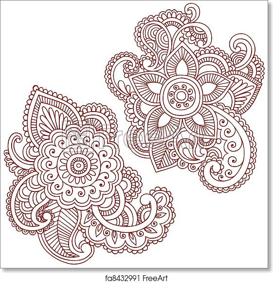 Free Art Print Of Henna Flower Doodles Vector Design