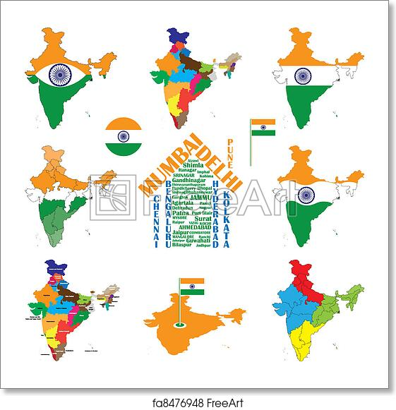 Free art print of India map, indian cities, states and india flag