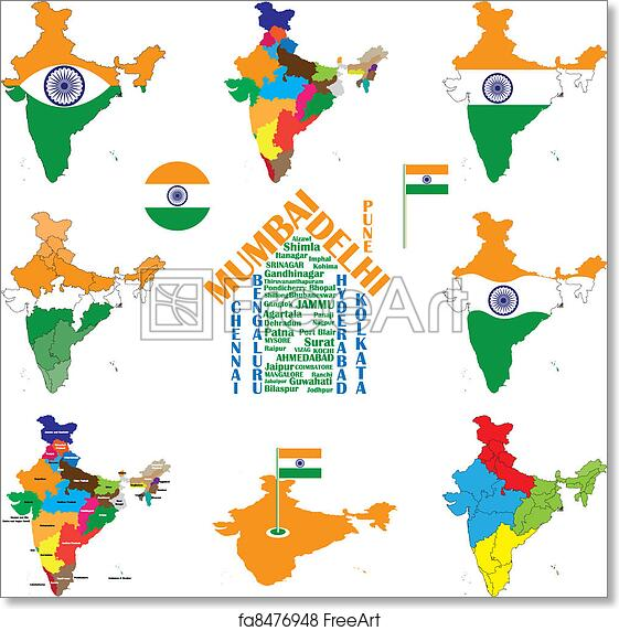 India Map Flag.Free Art Print Of India Map Indian Cities States And India Flag