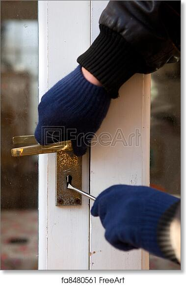 Free art print of Theif breaking-in burglary security