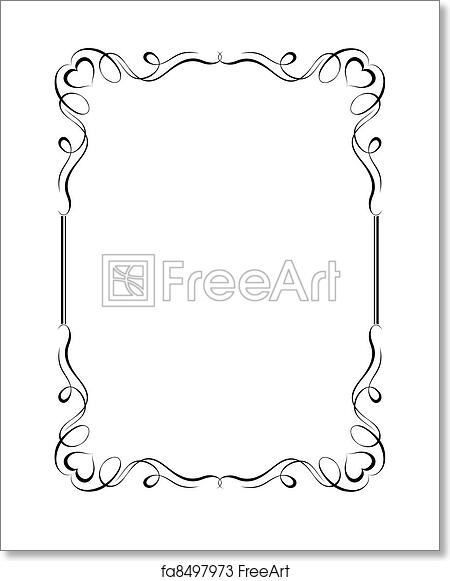 Free art print of Calligraphy ornamental decorative frame with heart ...