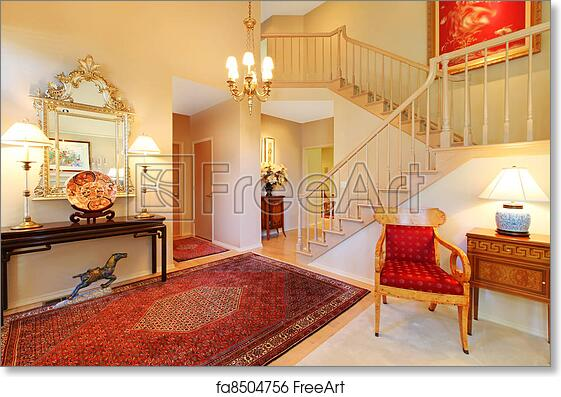 Free art print of Luxury entrance living room with red rug ...