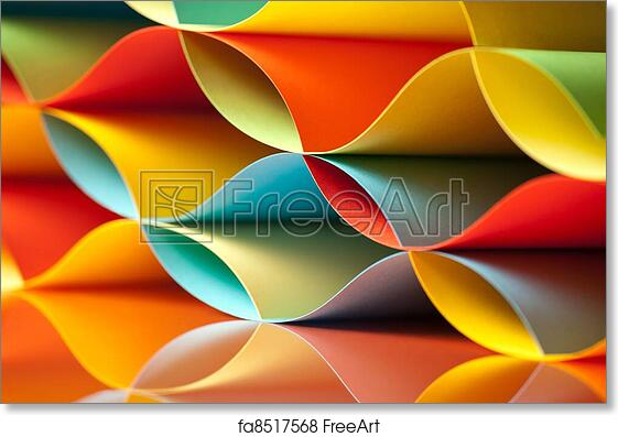 Free art print of Curved, colorful sheets paper with mirror ...