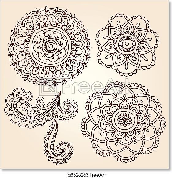 62e986735ac20 Free art print of Henna Flower Mandala Vector Designs. Henna Mehndi Flower  Doodles Abstract Floral Paisley Design Elements Vector Illustration |  FreeArt | ...