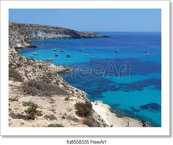 Free Art Print Of Boats On The Island Of Rabbits Lampedusa Sicily
