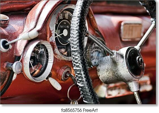 Free Art Print Of Interior In An Old Car View Of The Interior Of An