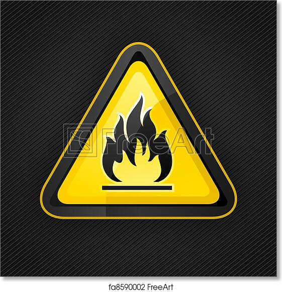 Free Art Print Of Hazard Warning Triangle Highly Flammable Warning