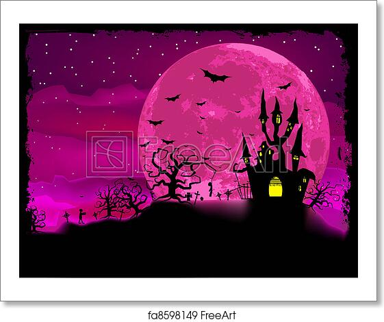 free art print of halloween poster with zombie background eps 8
