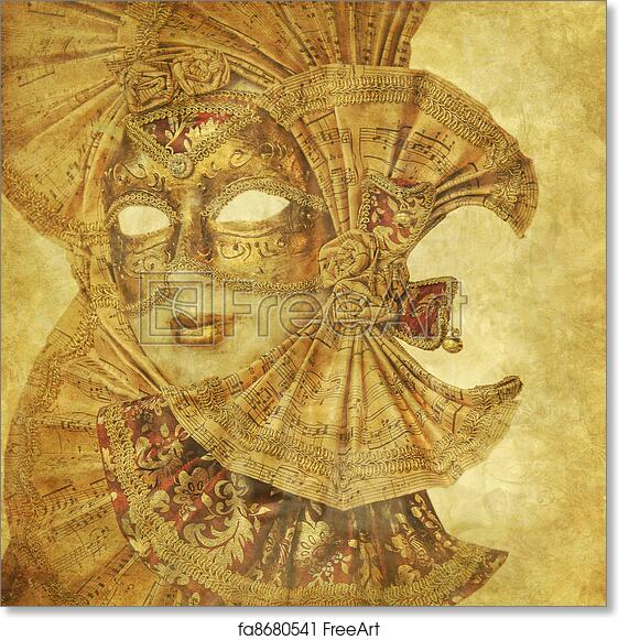 Free art print of Rich antique Venetian Mask with music paper ...