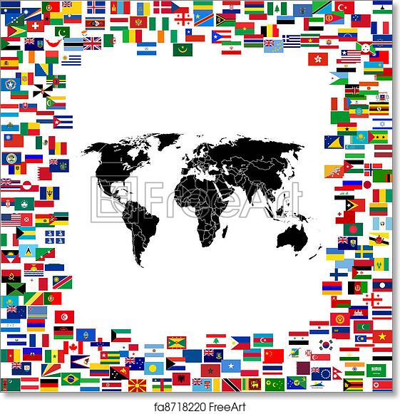 Map Of World Flags.Free Art Print Of World Map Framed With World Flags Freeart