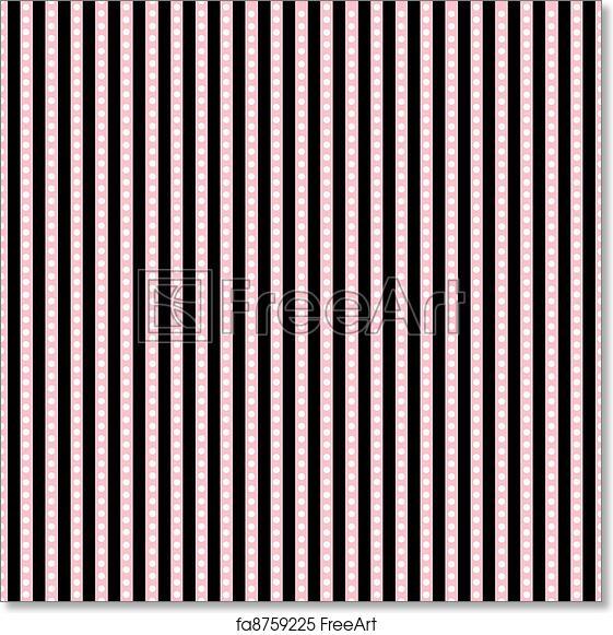 free art print of pink black white stripes dots seamless pink