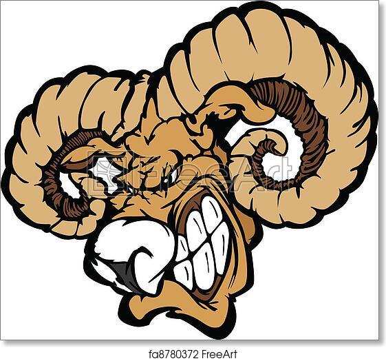 Free art print of Ram Mascot Cartoon Illustration. Angry Cartoon Ram Mascot  Head with Horns | FreeArt | fa8780372