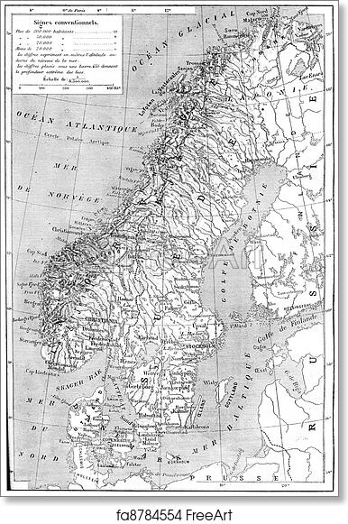 photo about Scandinavia Map Printable titled Cost-free artwork print of Outdated engraved example of map of Scandinavia - Sweden, Norway and Denmark. Dictionary of words and phrases and elements - Larive and Fleury?