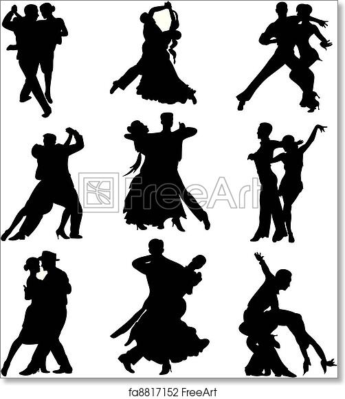 Free Art Print Of Ballroom Dancing Silhouette Competitive Dance Standard And Latino Dancing Freeart Fa8817152