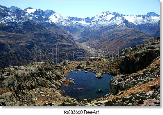 free art print of val fex on the engadin hiking trail view over a