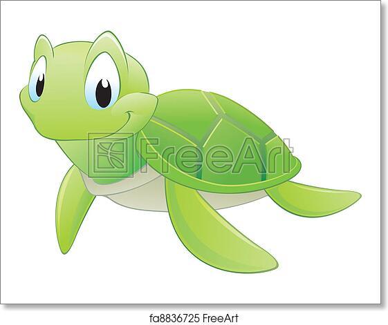 Free Art Print Of Cartoon Turtle Vector Illustration Of A Cute