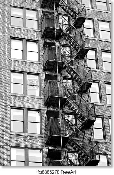 Free Art Print Of Fire Escape Stairways