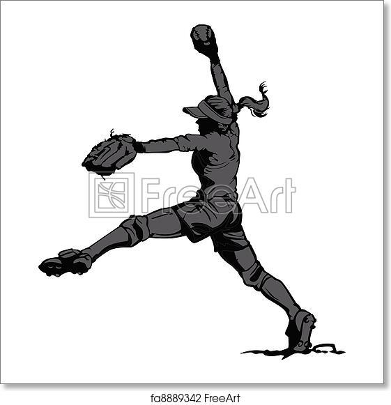 free art print of fast pitch softball pitcher vector illustration