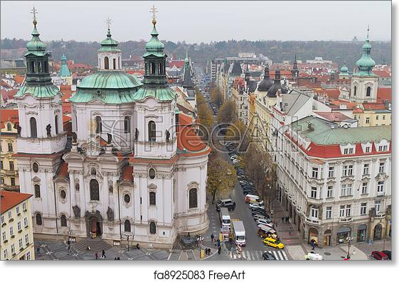 Prague Old Town City Picture PANORAMIC CANVAS WALL ART Print