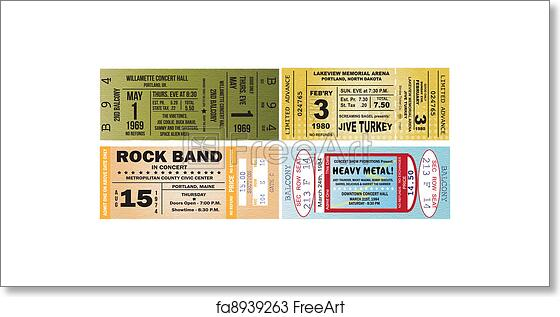 free art print of concert ticket vectors four concert tickets as