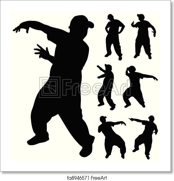 Free Art Print Of Hip Hop Dancer Silhouette Hip Hop Dancer Silhouette On White Background Freeart Fa8946571