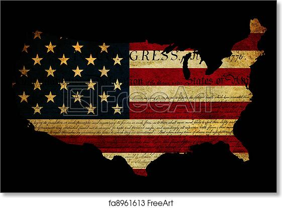 united states map art print declaration of independence grunge america map flag