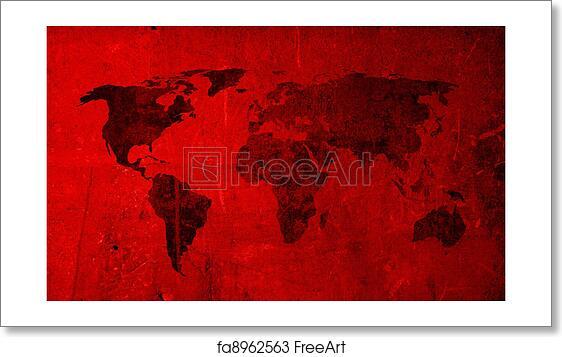 Vintage World Map Art.Free Art Print Of Scratch Vintage World Map World Map Textures And