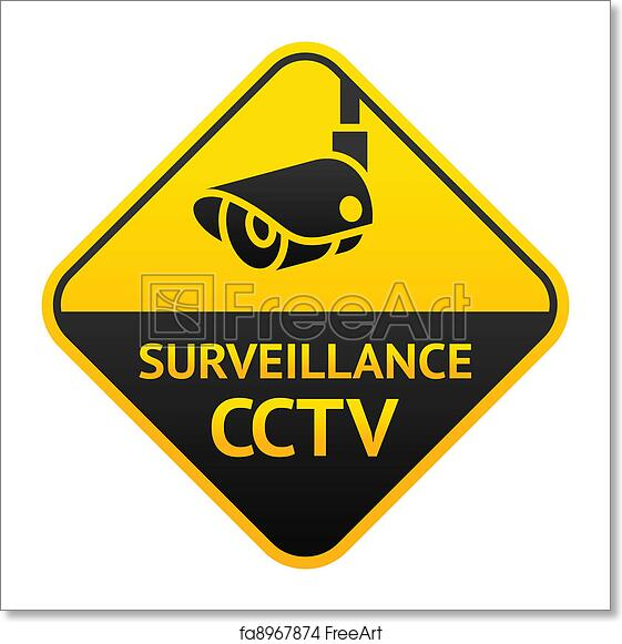 photo relating to Video Surveillance Sign Printable called Absolutely free artwork print of CCTV signal, online video surveillance logo