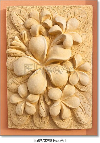 Free Art Print Of Stone Plumeria Craft Art Design For Spa Freeart