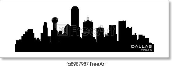 free art print of dallas texas skyline detailed vector silhouette