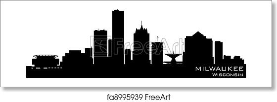 free art print of milwaukee wisconsin skyline detailed vector