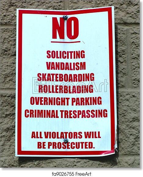 photo regarding Free Printable No Soliciting Sign named No cost artwork print of \