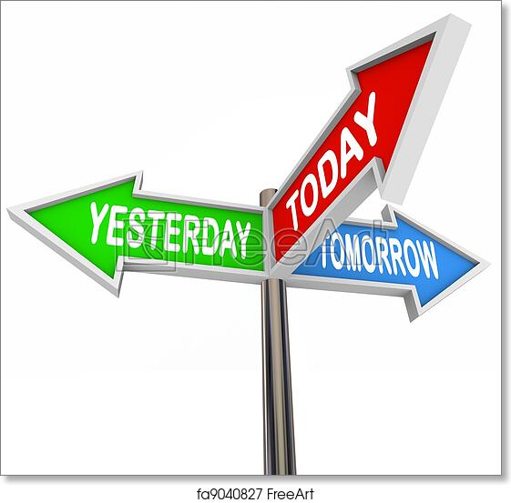 Free art print of Yesterday Today Tomorrow Past Present Future Arrow Signs